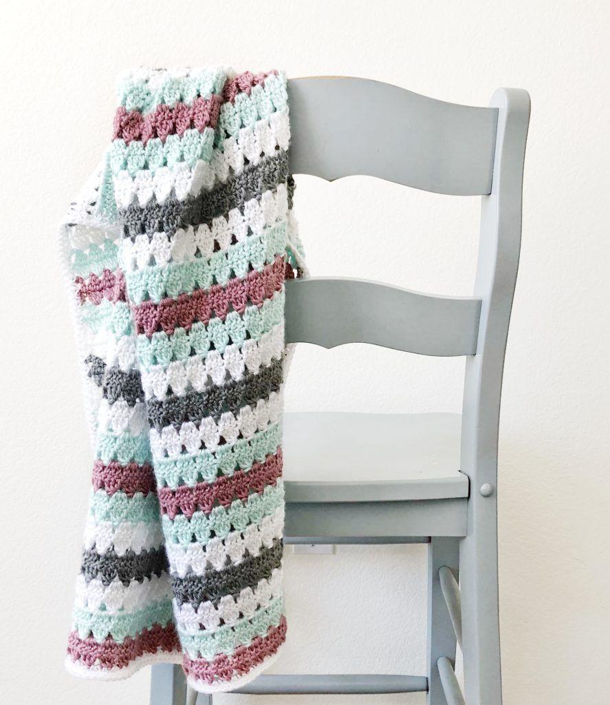 Crochet Striped Modern Granny Blanket | Crochet | Pinterest | Manta ...