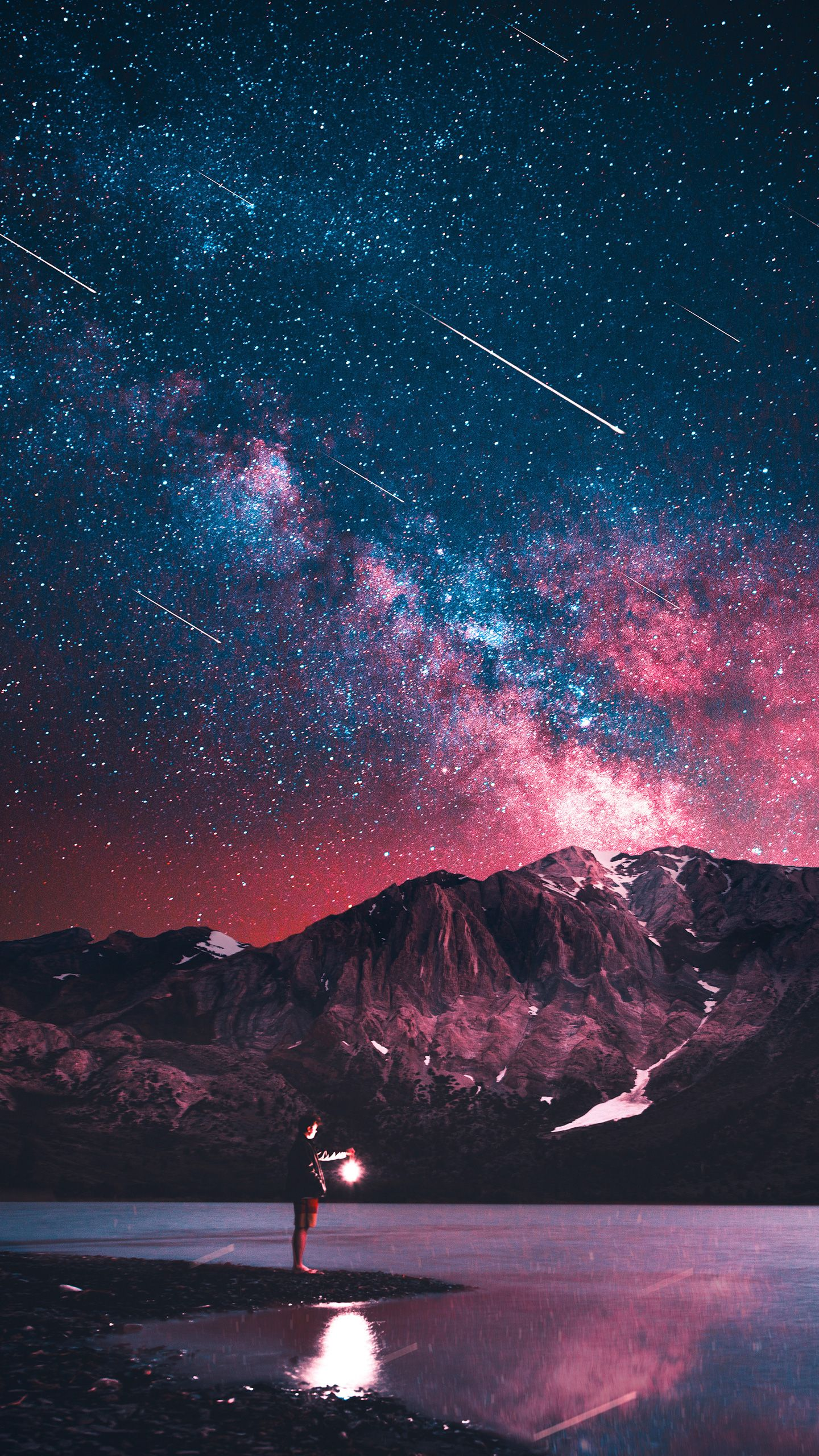 Stars Along The Mountains Starry Night Wallpaper Galaxy Wallpaper Night Sky Wallpaper