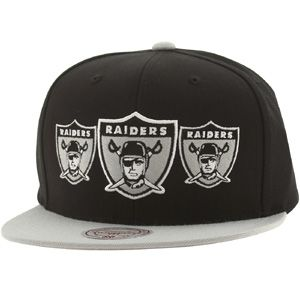 Mitchell And Ness Oakland Raiders Triple Stack Snapback Cap (black / silver) NP97Z-6RAIDEBSL - $28.00