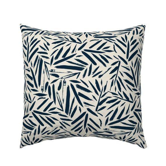Boho Pillow Sham - Brush Stroke Leaves  by crystal_walen - Jungle  Indigo Blue Navy Palm  Cotton Sat