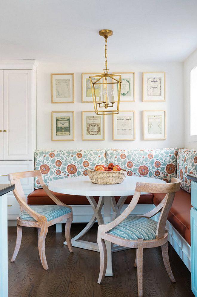 Breakfast Nook Banquette With Gallery Wall Art Darlana Lantern Lighting And Custom