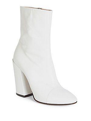 a063ba524672 Dries Van Noten Leather Cap Toe Block Heel Booties