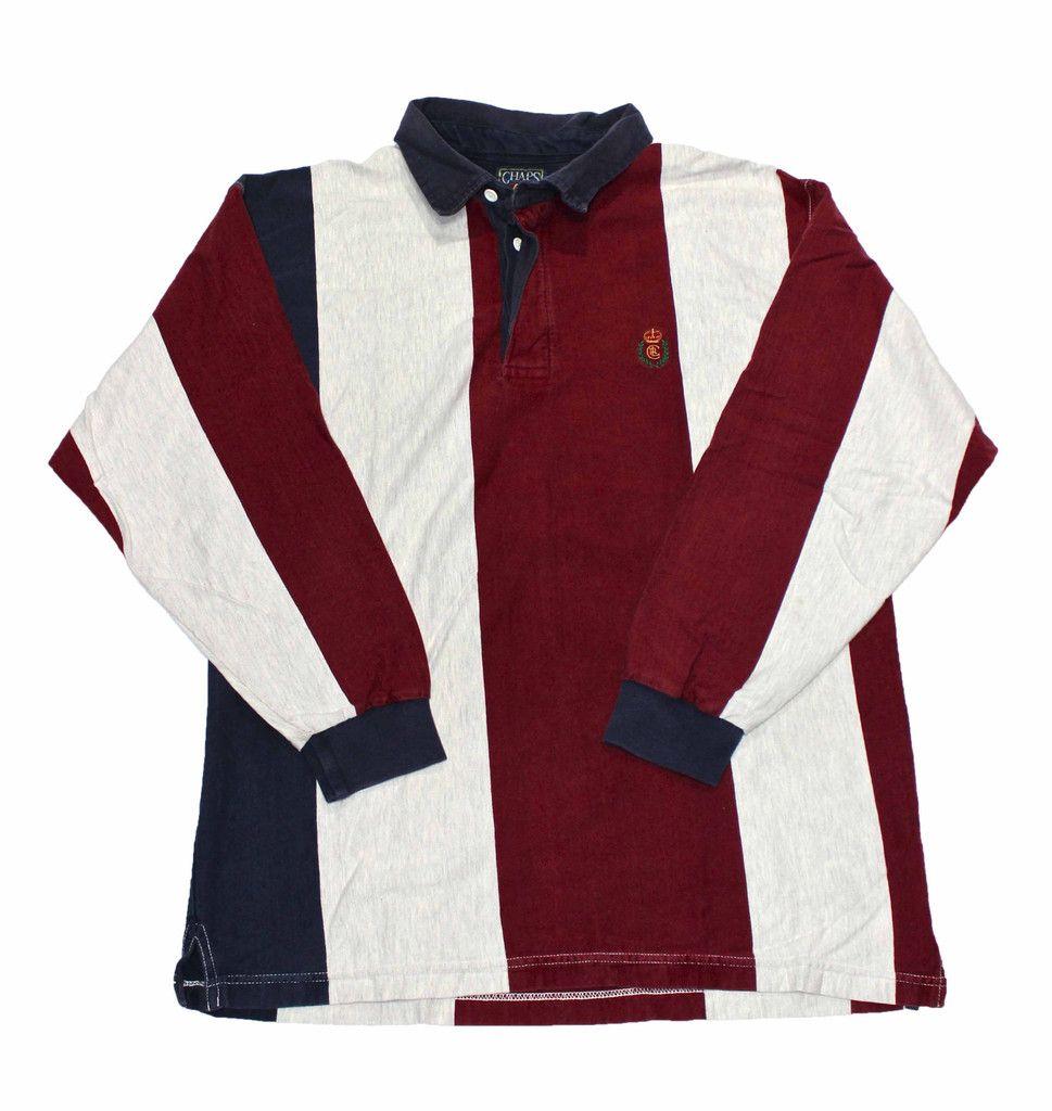 7485804d53 Vintage 90s Chaps Ralph Lauren Long Sleeve Striped Polo Shirt Mens Size  Medium $30.00