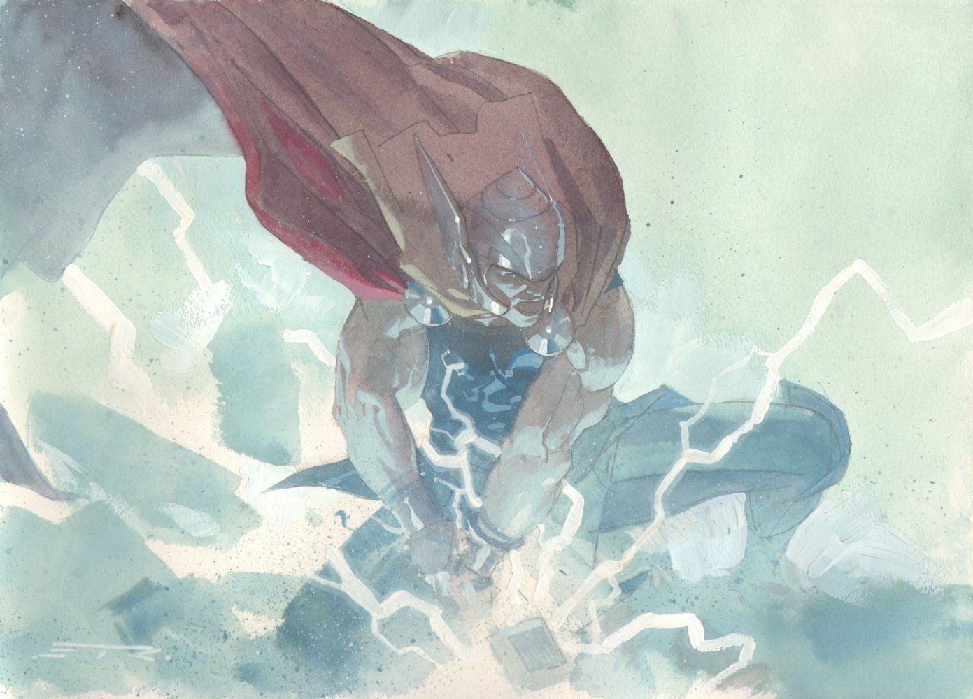Watercolor books for sale - Anthony S Comic Book Art For Sale Artwork Thor Dropping The Hammer Watercolor