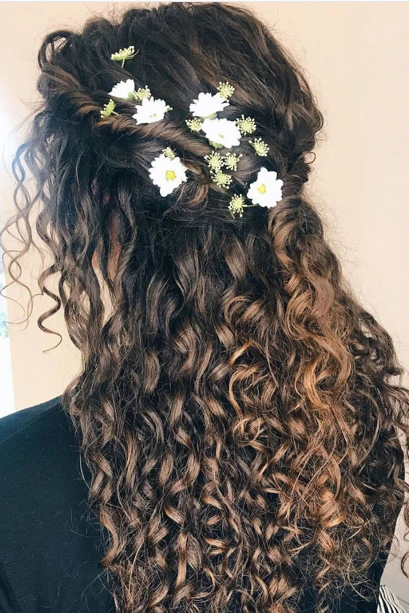 Curly Wedding Hairstyles With Flowers In 2020 With Images