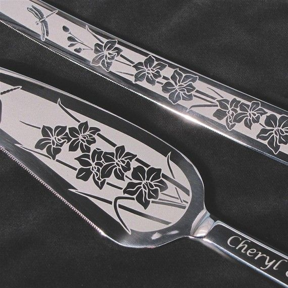 Orchid Wedding Cake Server and Knife Set Engraved by bradgoodell