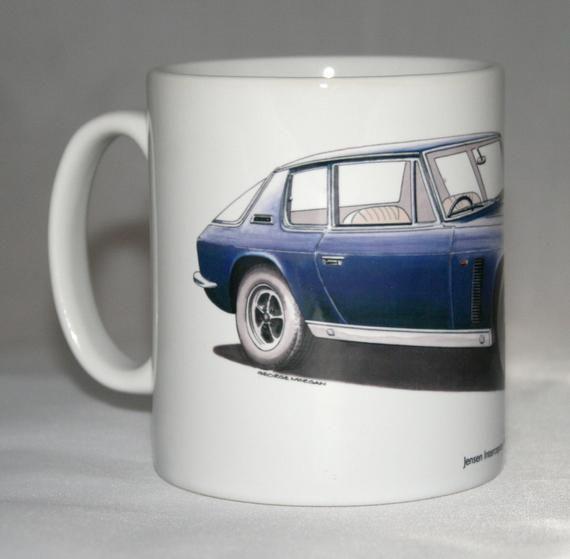 Classic Car Mug. Jensen Interceptor Mk1 hand drawn illustration.
