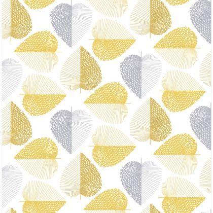 Habitat Stitch Leaf Printed Wallpaper Mustard Yellow