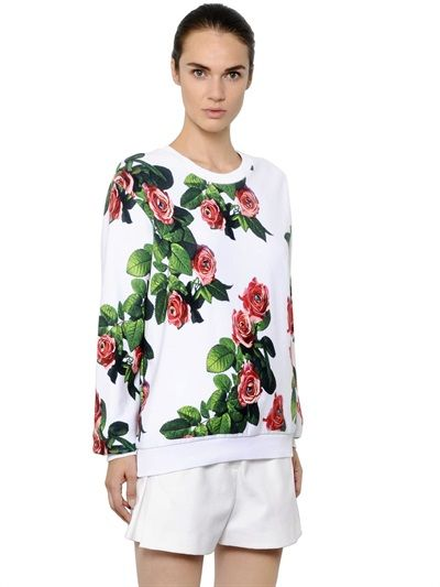 MSGM TOILETPAPER - ROSE PRINTED COTTON SWEATSHIRT - LUISAVIAROMA - LUXURY SHOPPING WORLDWIDE SHIPPING - FLORENCE