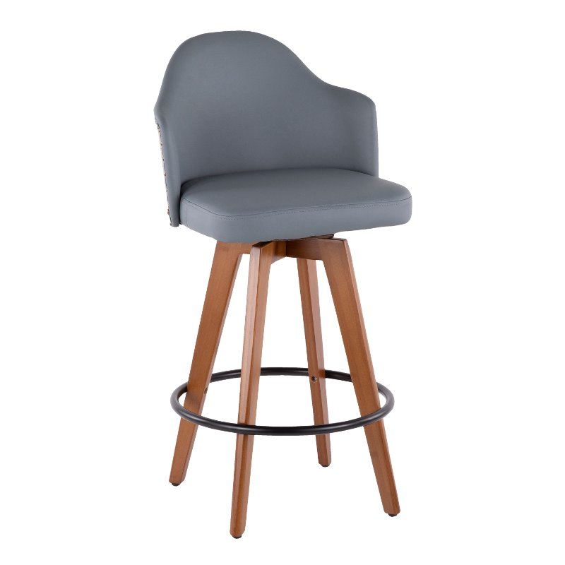 Mid Century Walnut And Gray 26 Inch Swivel Counter Height Stool Ahoy Leather Counter Stools Modern Counter Stools Counter Height Stools