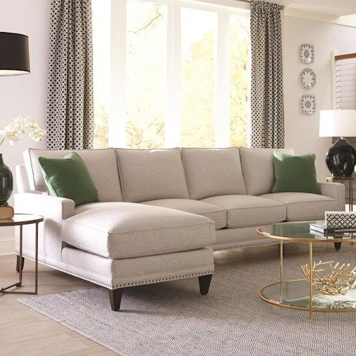 Rowe My Style II Transitional Sofa with Chaise and Track Arms : rowe sectional sofas - Sectionals, Sofas & Couches