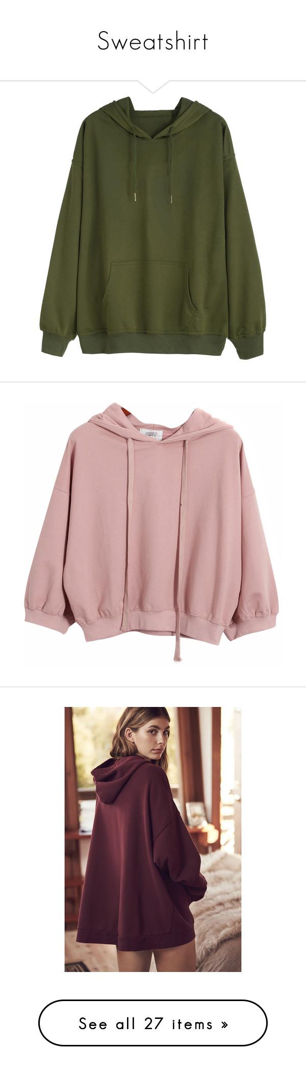 """Sweatshirt"" by raenawallace ❤ liked on Polyvore featuring tops, hoodies, sweatshirts, sweaters, outerwear, sweatshirt, jumpers, green, long sleeve sweatshirt and hooded sweatshirt"