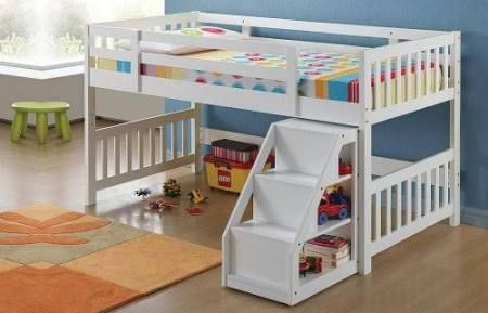 Acme 37065 White Wood Mission Kids Twin Loft Bed With Stairs Low