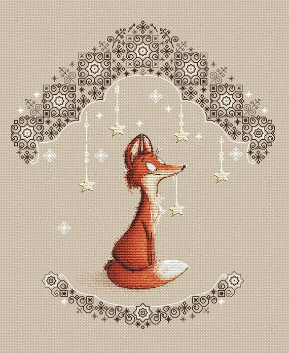 Fox with star cross stitch pattern cute fox instant download pdf chart cross stitch for nursery fox pdf pattern #cutefox
