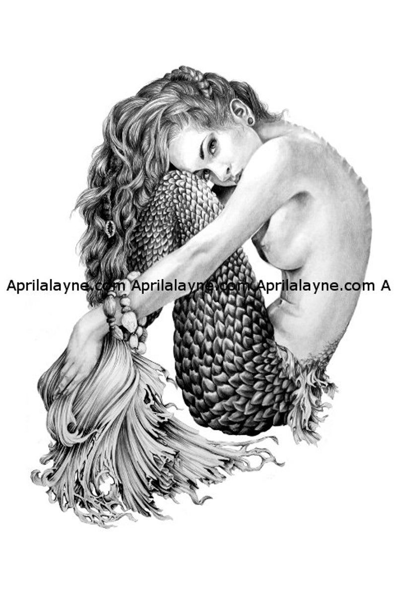 Mermaid- Illustration- Black and white- woman- portrait- fine art -siren- crouching mermaid