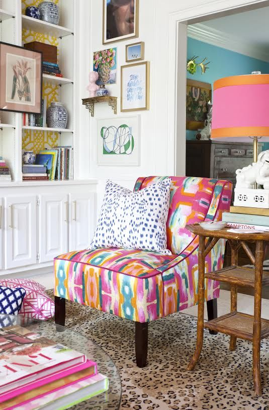 Print on print on print in a beautiful, bold living space