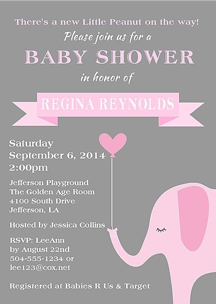 Elephant Girl Baby Shower Invitations 100 each httpwww