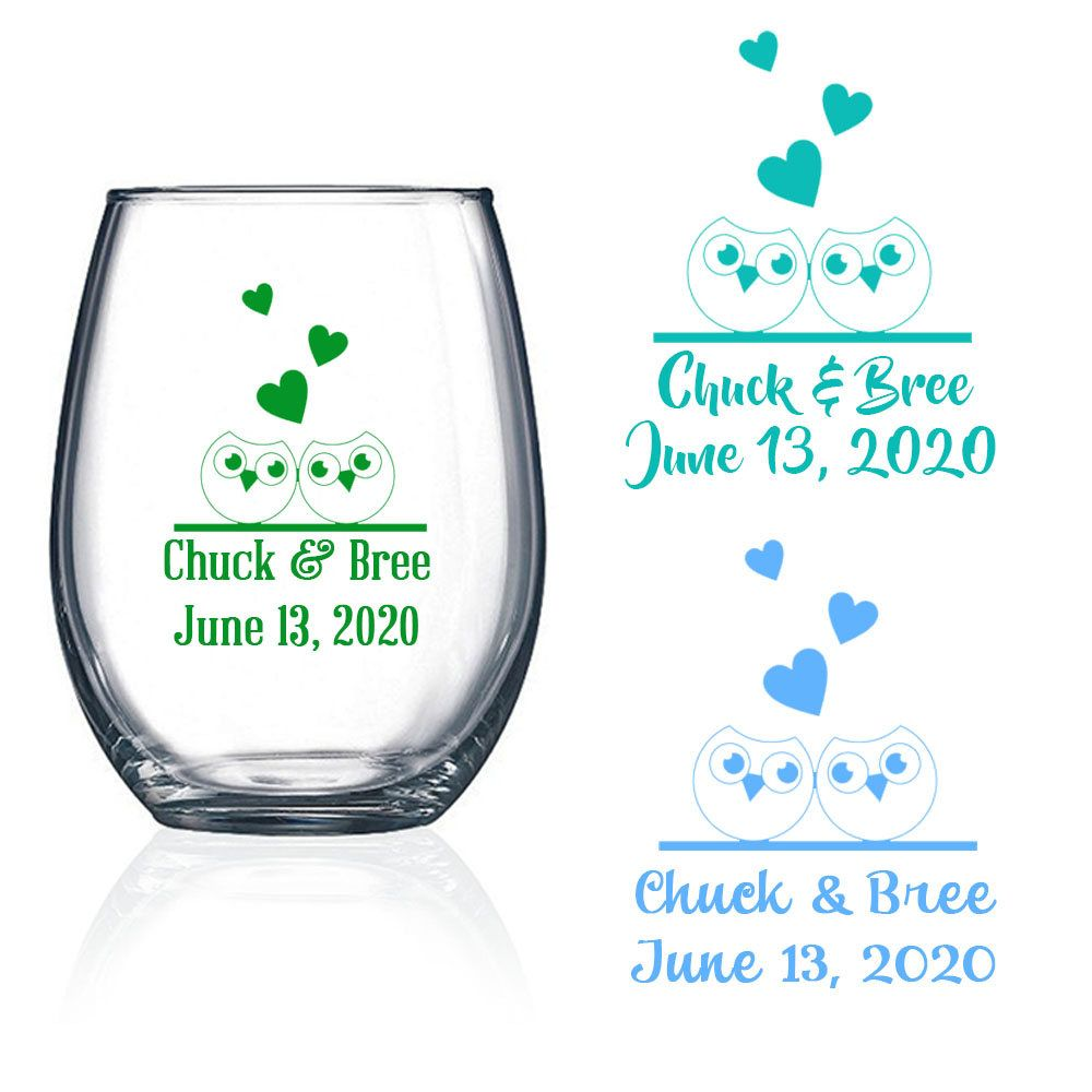 Set of 24 Personalized Owls and Heart design Stemless Wine Glasses ...