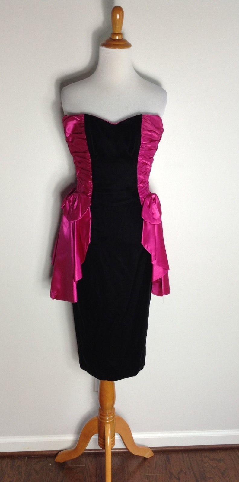 Nice amazing gunne sax vintage black velvet pink bows prom dress