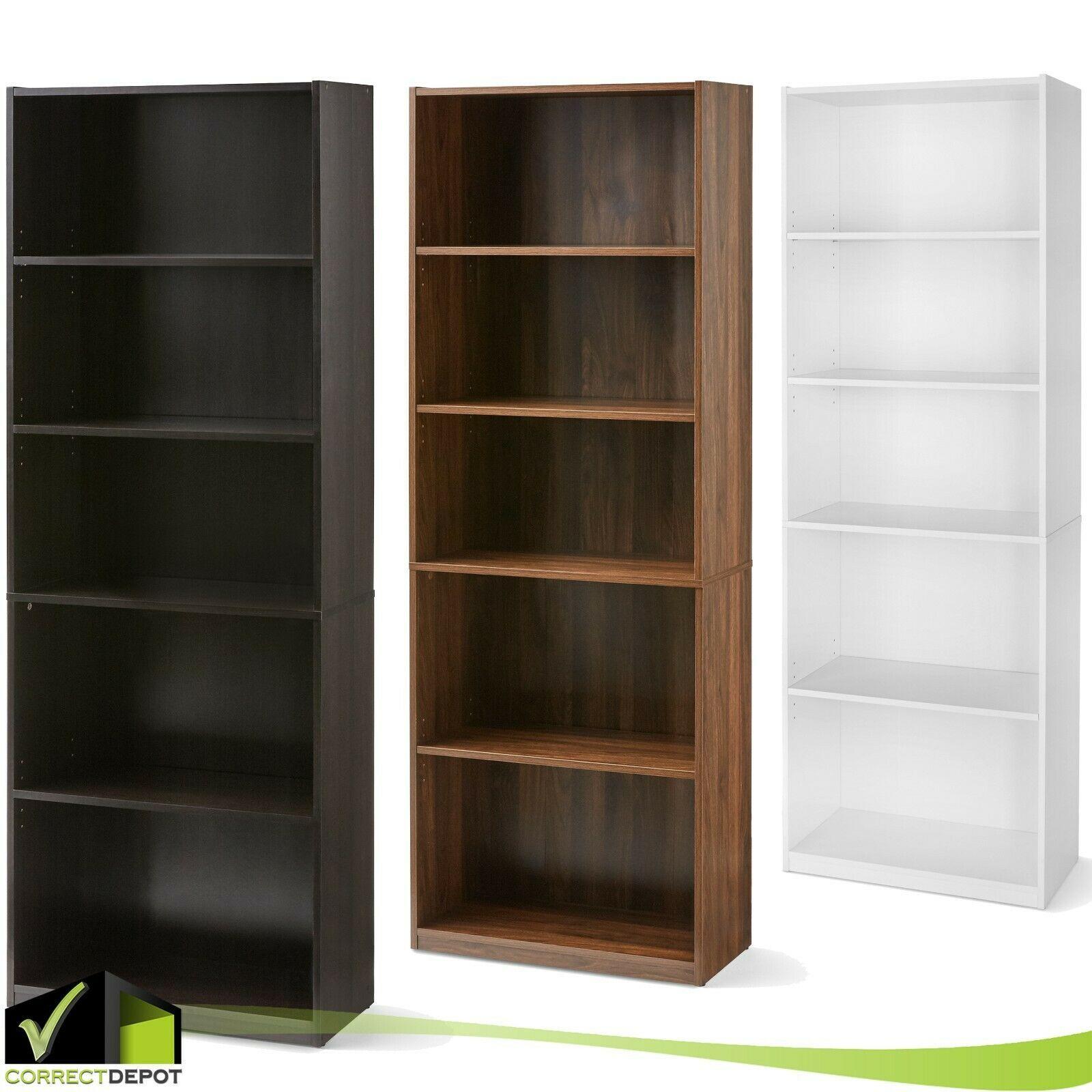 Adjustable 5 Shelf Bookcase Book Wide Wood Furniture Storage