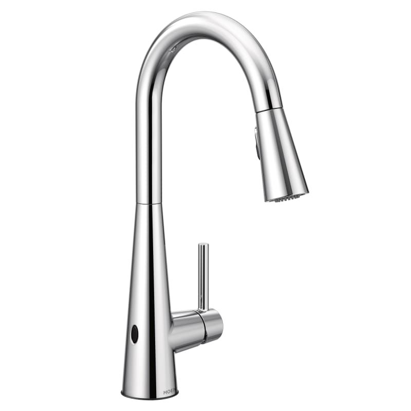 Moen 7864ewc Chrome Sleek 1 5 Gpm Single Hole Pull Down Kitchen Faucet With Reflex Motionsense Wave Duralast Duralock And Power Clean Includes Escutcheon Kitchen Faucet Chrome Kitchen Faucet High Arc Kitchen Faucet