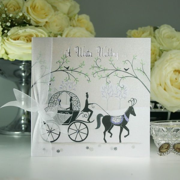 Fairytale Horse And Carriage Wedding Invitation With Crystals