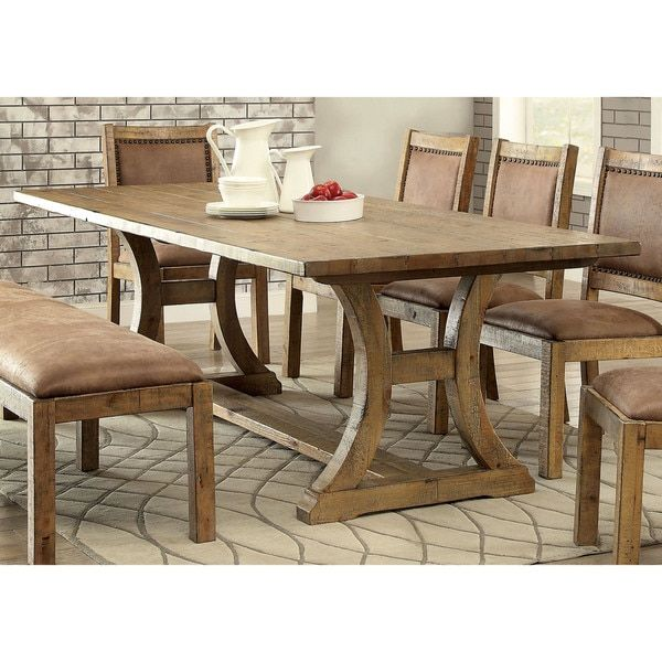 Furniture Of America Matthias Industrial Rustic Pine Dining Table (96 Inch  Table), Brown