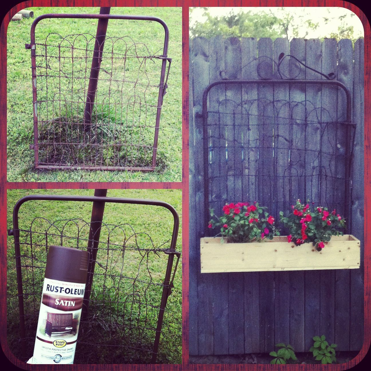 Antique gate repurposed for Mother's Day gift