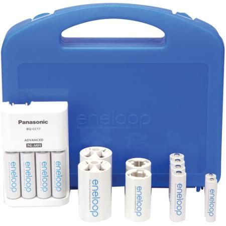 Panasonic Eneloop K Kj17mcc82a Power Pack 8 Aa 2 Aaa Rechargeable Batteries Cc17 Charger 2 C 2 D Battery Adapters And Storage Case Walmart Com Panasonic Battery Charger Battery Adapter
