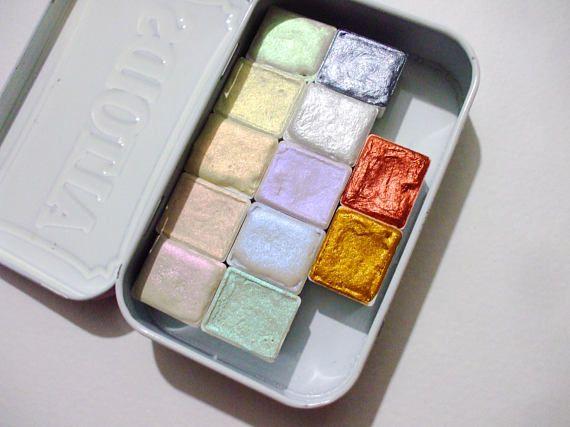 Shimmer Set Watercolor Travel Tin 12 Colors Watercolor Pallet