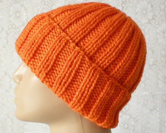 a9cc3dd40 Watch cap or brimmed beanie hat in bright orange. An ideal hat for ...