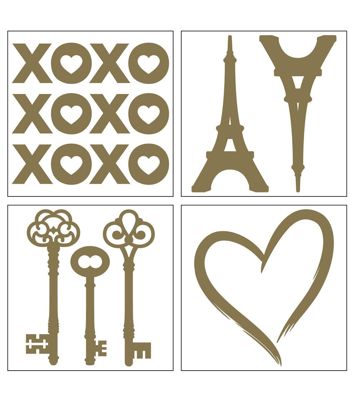 Iron-On Transfer Paris/Romance-Gold 4pc.   Products   Pinterest