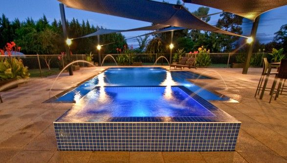 Cookes Pools Spas Award Winning Concrete Pool The Spa Overflows Into The Pool The Pool Has Wet Deck Coping And The Spa Is An Residential Pool Pool Spa Pool