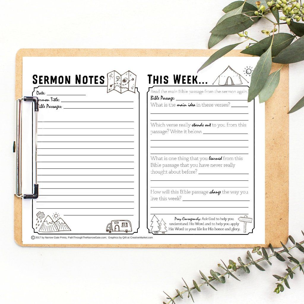 H Sermon Notes For Teens Tweens And Adults