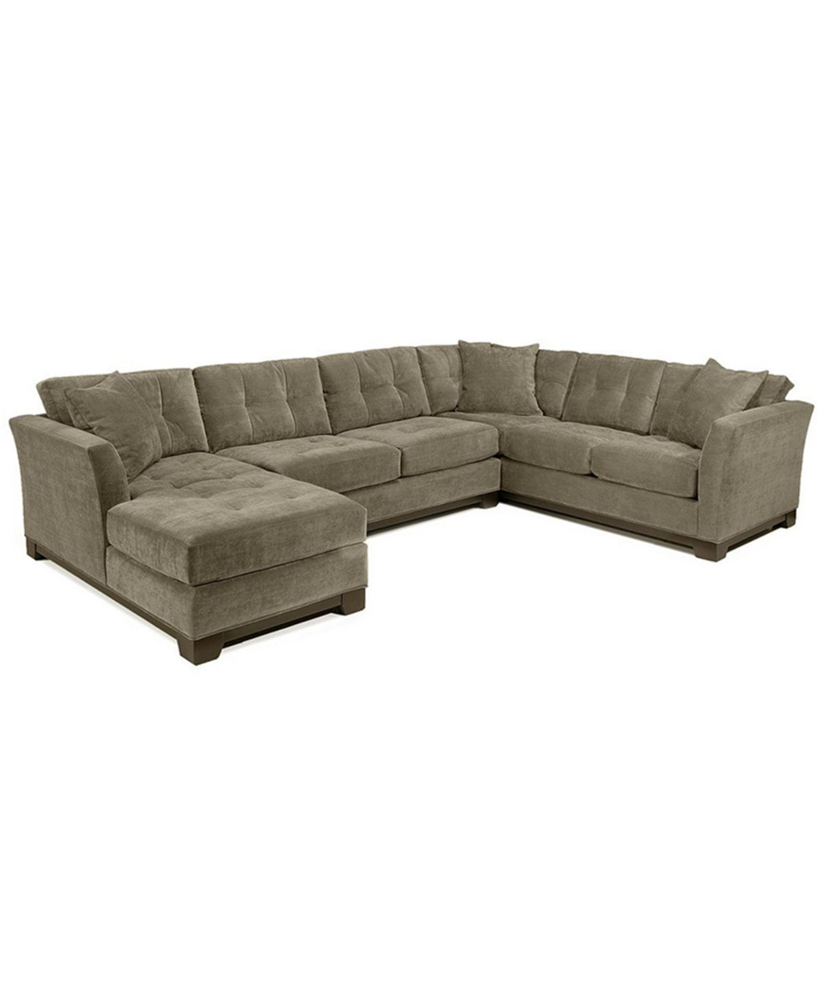 Elliot 3-Pc. Microfiber Sectional with Sleeper Sofa & Chaise ...