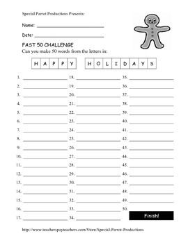 Christmas FREE - Happy Holidays - How Many Words Can You ...