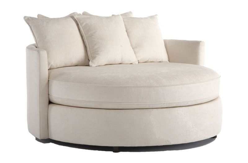 Round Chair And A Half With Ottoman