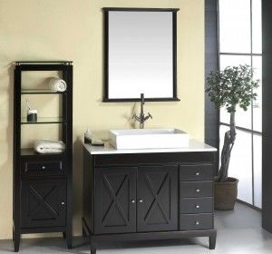 Cheap Black Bathroom Vanities With White Sink In Clearance