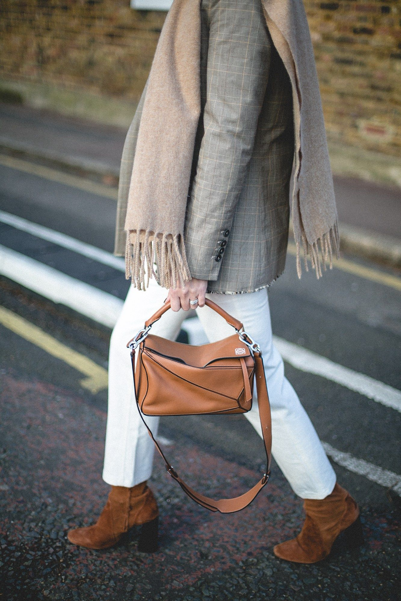 7b059f0bcc42 camel scarf, tan leather small size Loewe puzzle bag | Style in 2019 ...