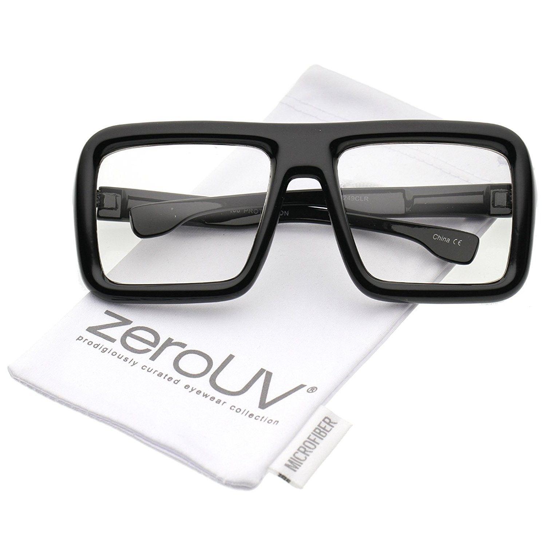8db7ed9817 Oversize Bold Thick Frame Clear Lens Square Eyeglasses 58mm - Shiny ...