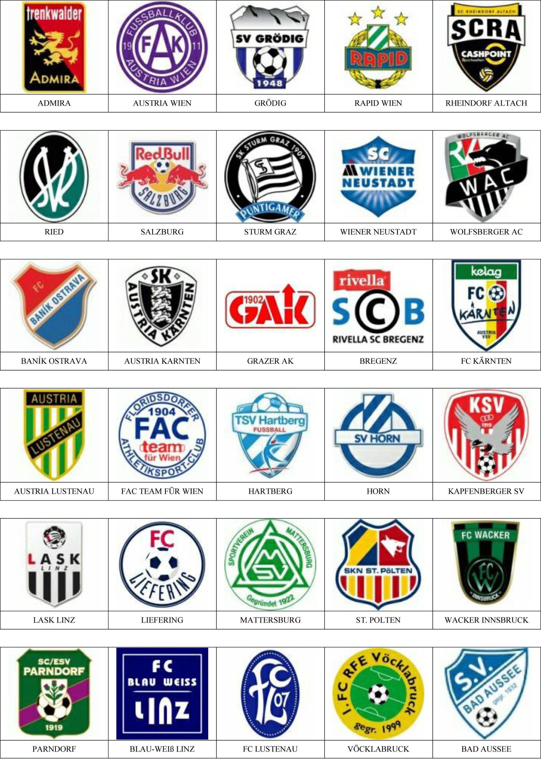 Escudos De Equipos De Fútbol De Austria Equipo De Fútbol Equipos De Futbol Europeos Escudo