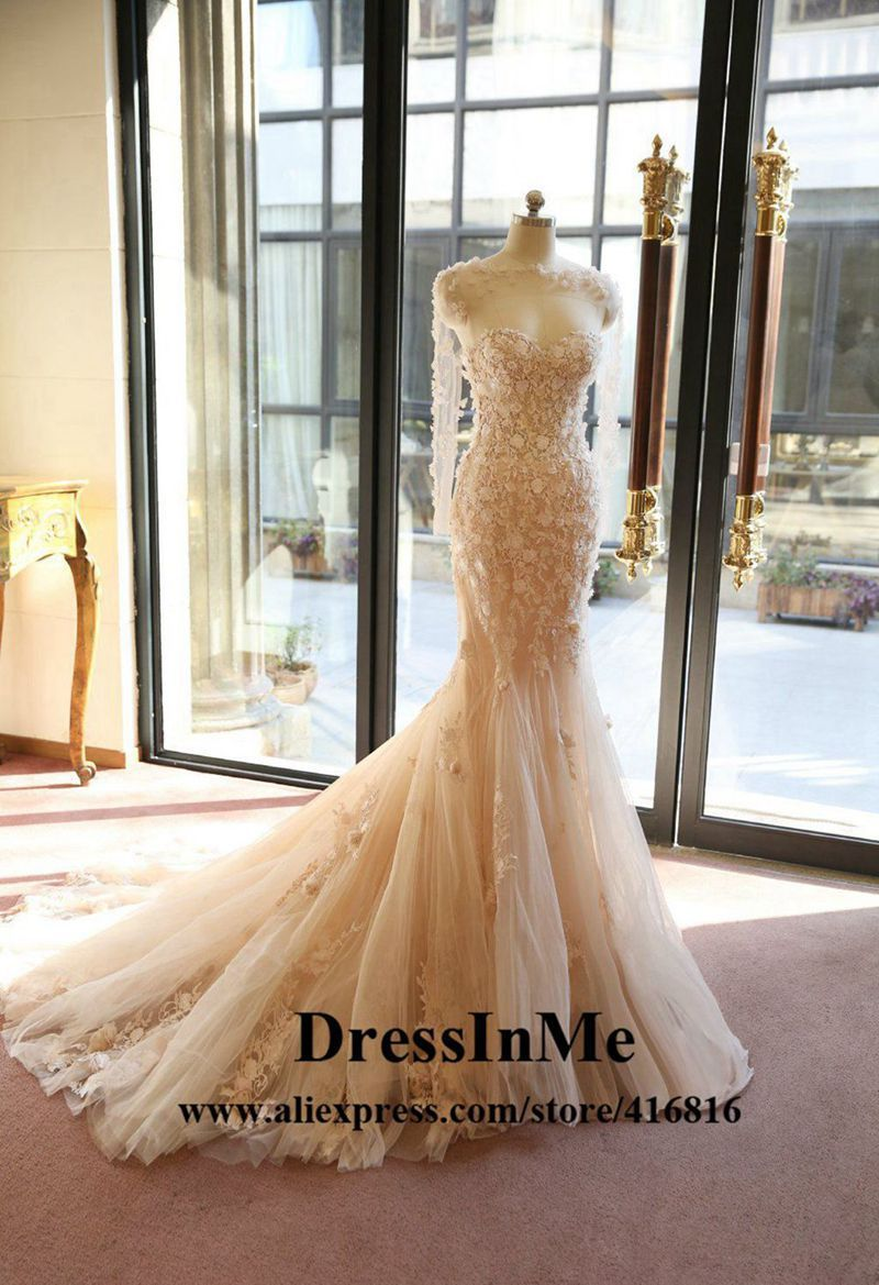 Blush Pink Champagne 3d Roses Lace Mermaid Wedding Dress With