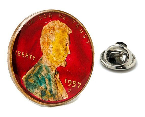 Enamel Pin Abraham Lincoln Penny US Enamel Coin Lapel Pin Tie Tack