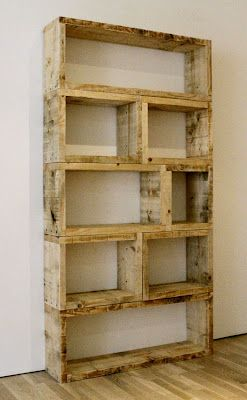 "$3 DIY Pallet Bookshelf. or make a buch of ""boxes"" and nail them together!"