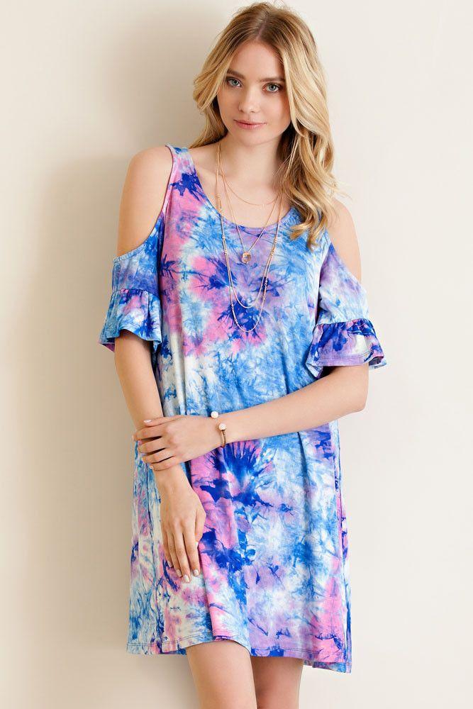 The Dye Cold Shoulder Dress