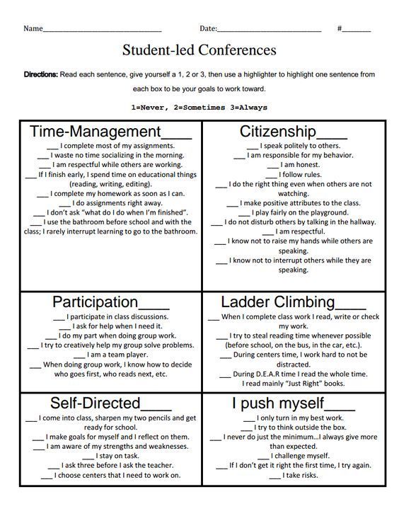 student led conferencespdf Web Pinterest Student led - employee self evaluation forms