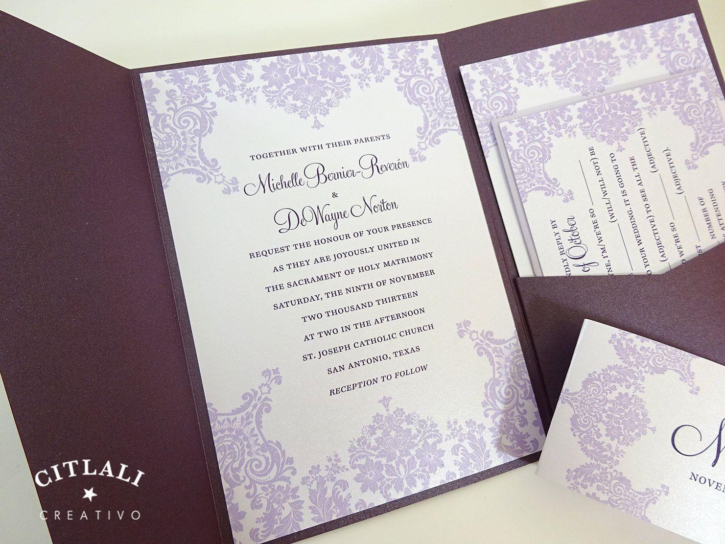 wedding stationery folders%0A Purple Damask Wedding Invitations  Baroque Pocket folder Metallic package  in Light and Plum Purples or