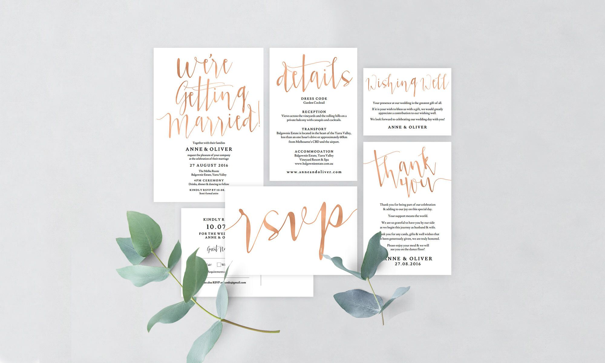 Printable wedding invitation set, Rose gold wedding invitation set ...