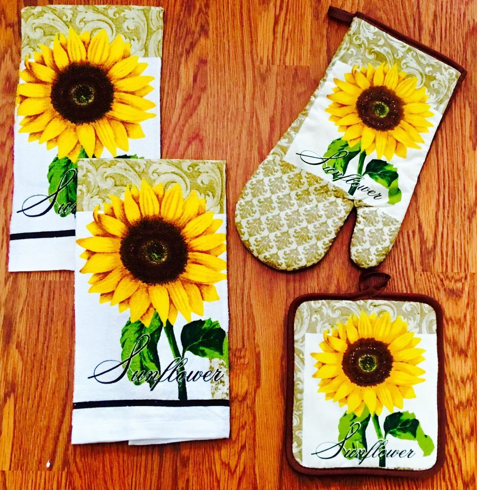 New Sunflower Kitchen Towel Set W/ Pot Holder & Oven Mitt