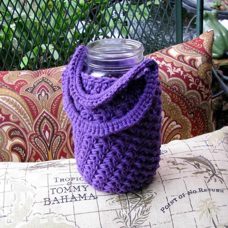 Handled Cozy for QUART size Mason jar - cup - drinking glass - gift container by BusyHandsAftercrafts on Etsy